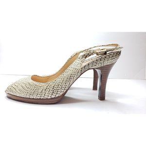 Cole Haan Nike Carma Snake Peeptoe Slingback Heels